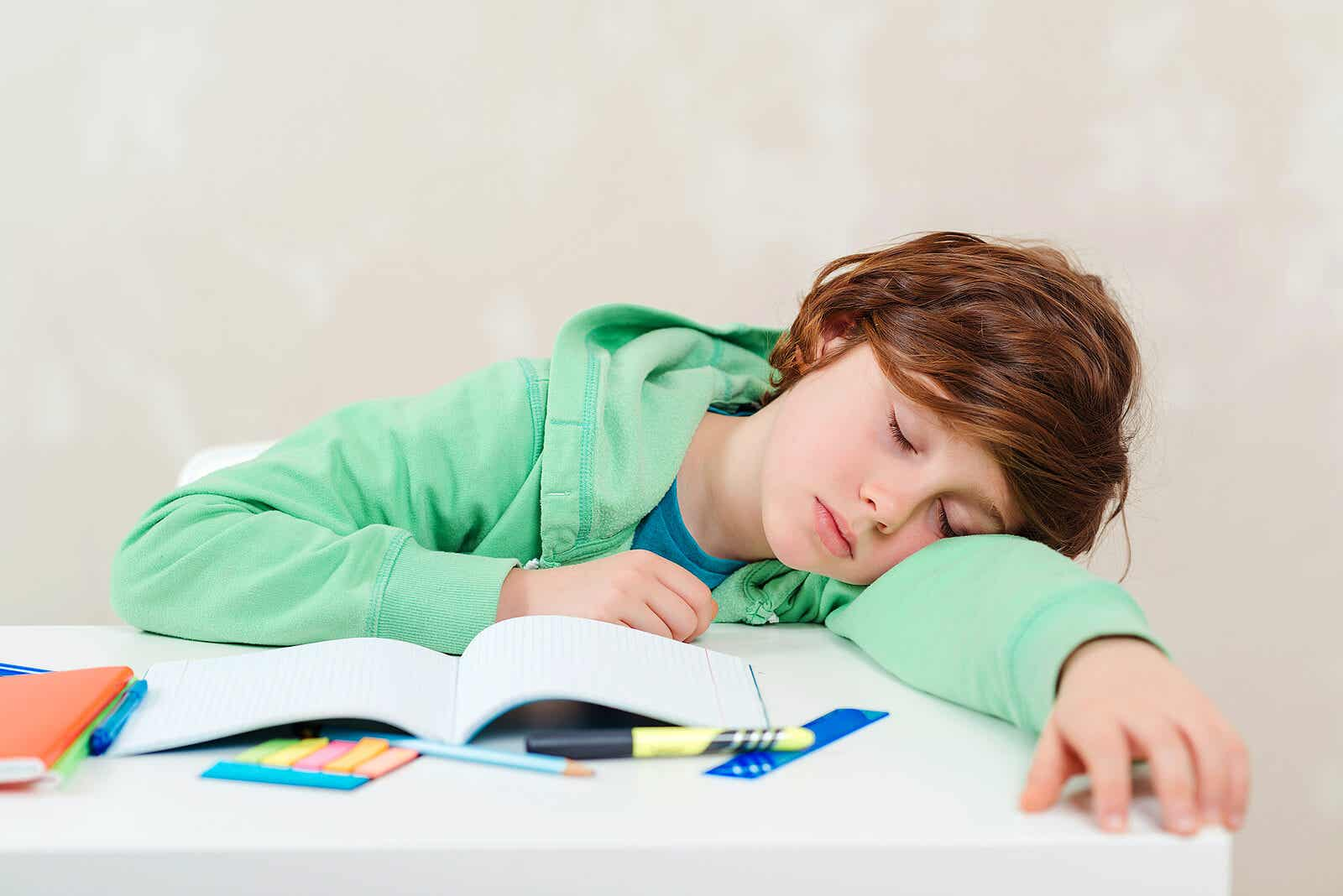 A child who's fallen asleep while studying.