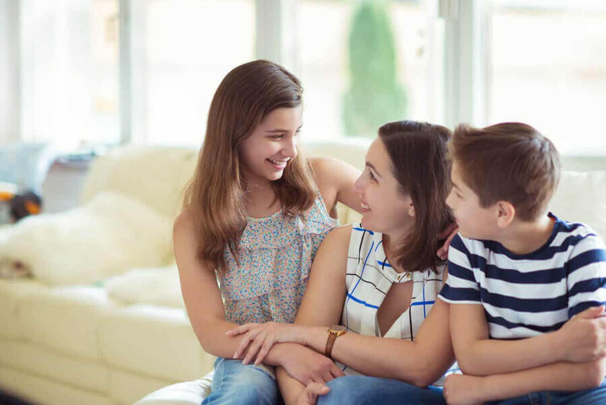 A mother talking to her son and daughter about responsibililty.