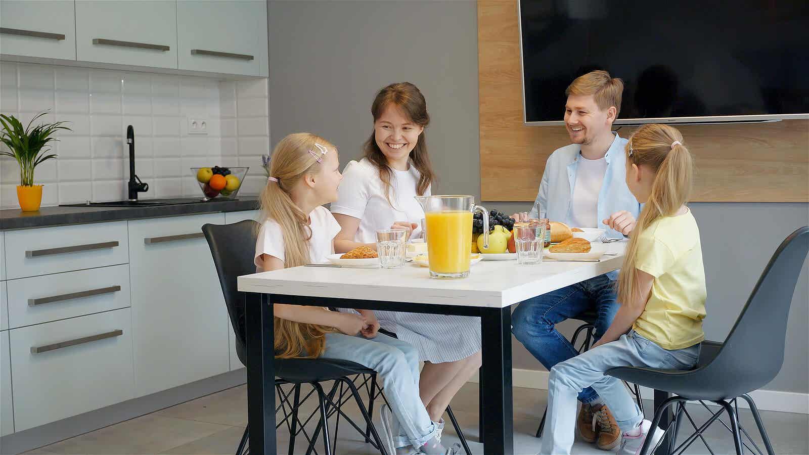 A family enjoying a meal.