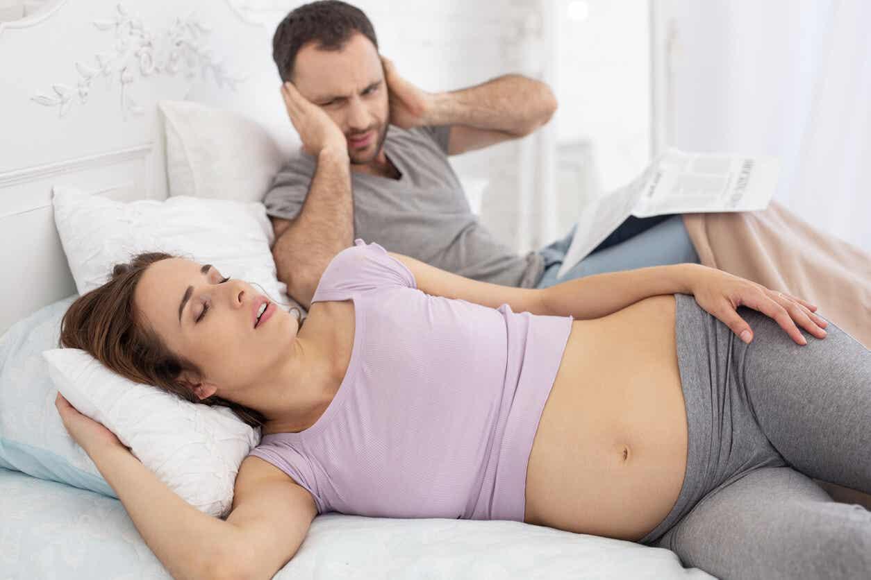 Pregnant woman snoring.