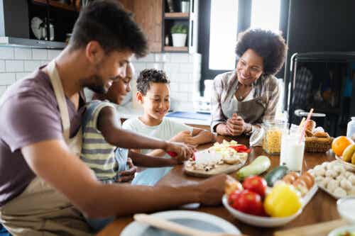 Family cooking and planning a healthy vegetarian menu as a family.