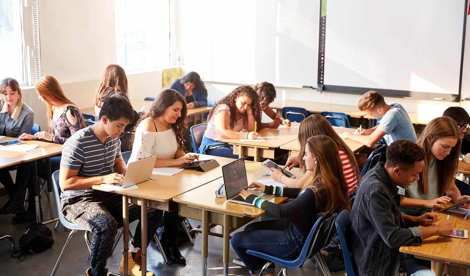 Leerlingen in de klas werken in groepen volgens VARK-leerstijlen.