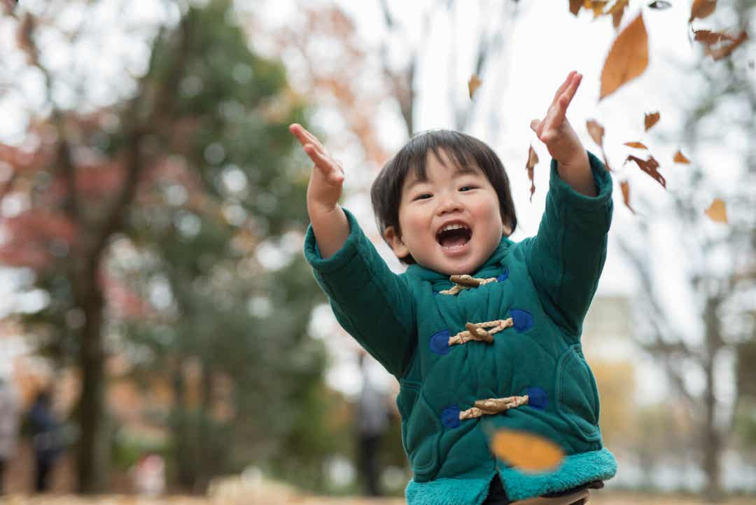 An Asian toddler throwing dry leaves in the air.