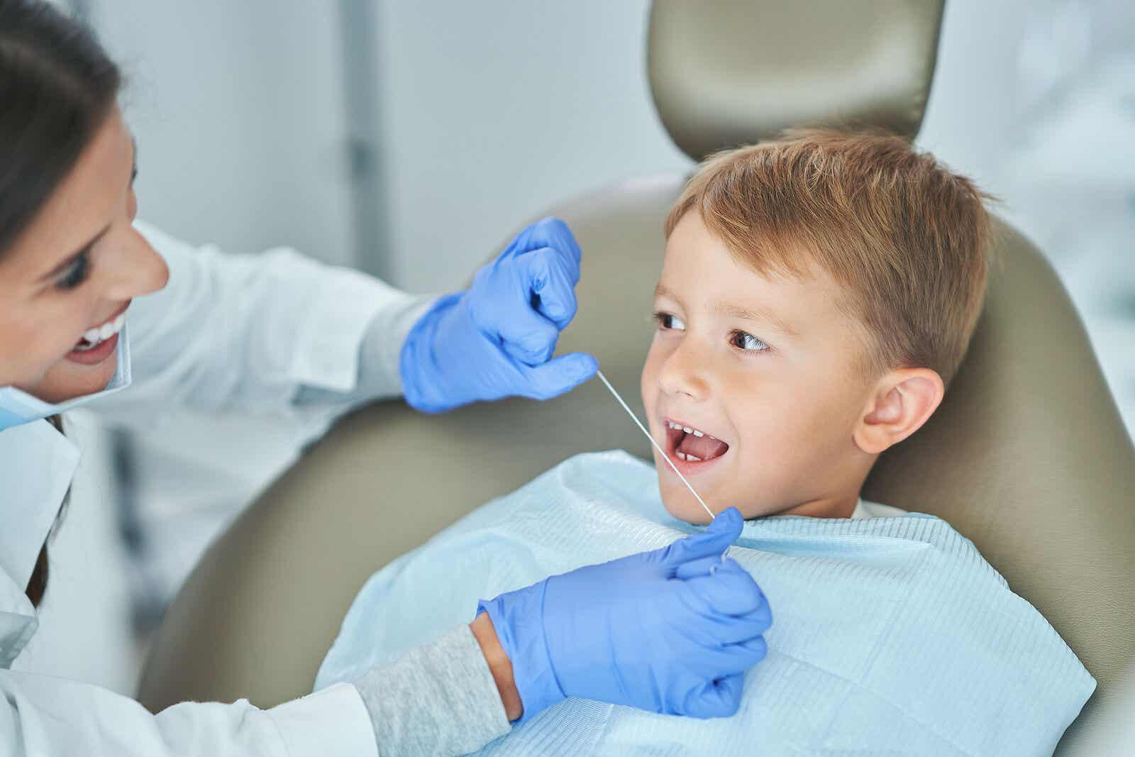 Visiting the pediatric dentist.