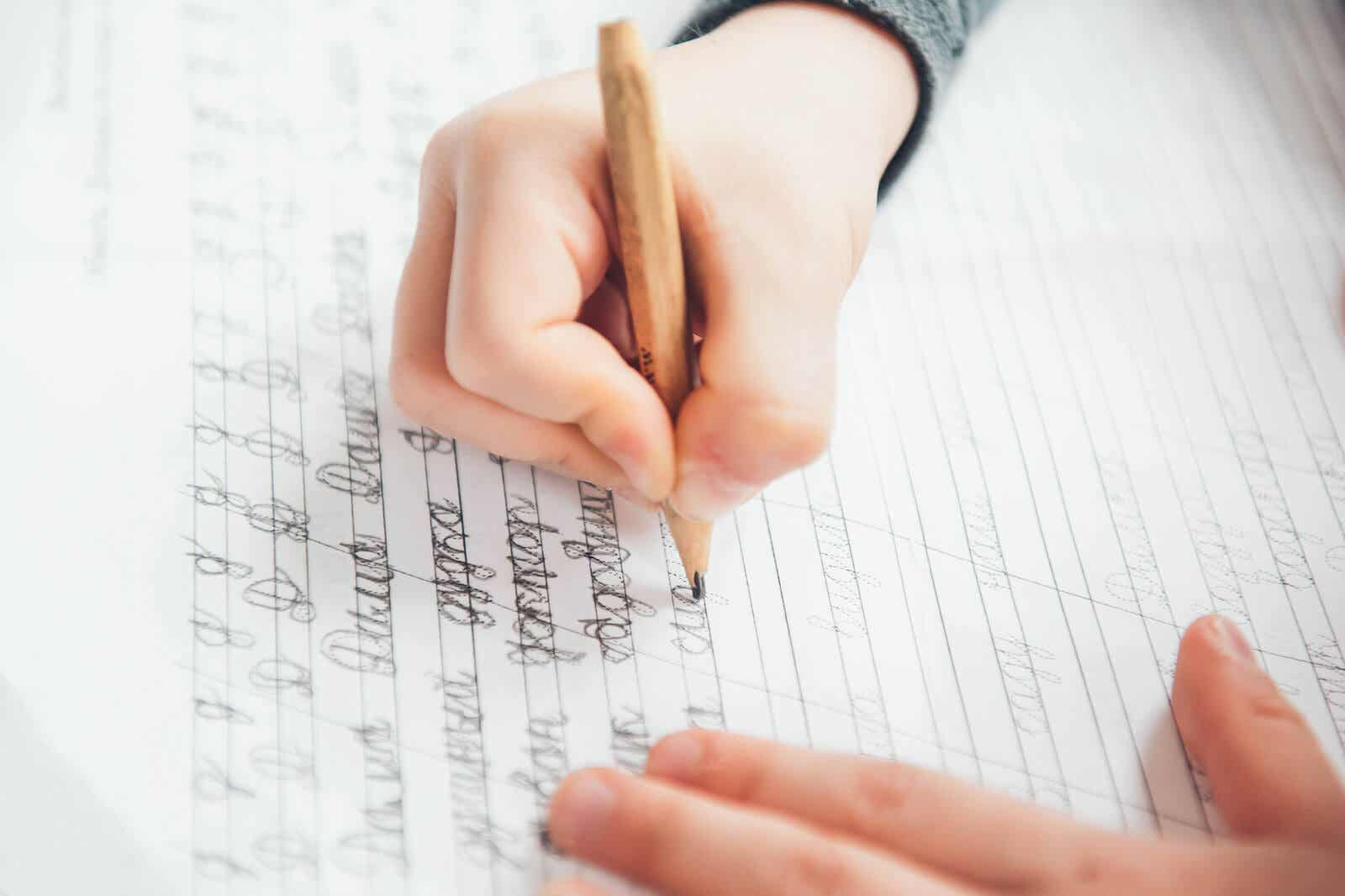 A child practicing his handwriting.