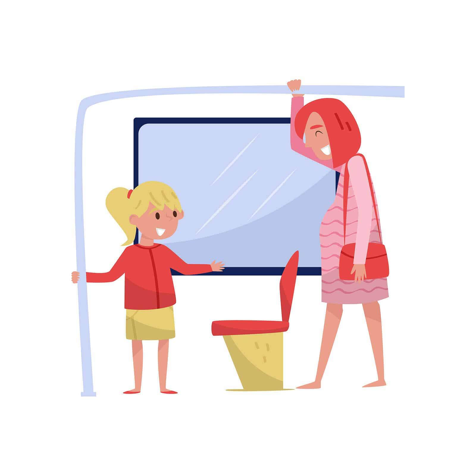 A cartoon image of a small girl giving her seat to a pregnant woman on the bus.