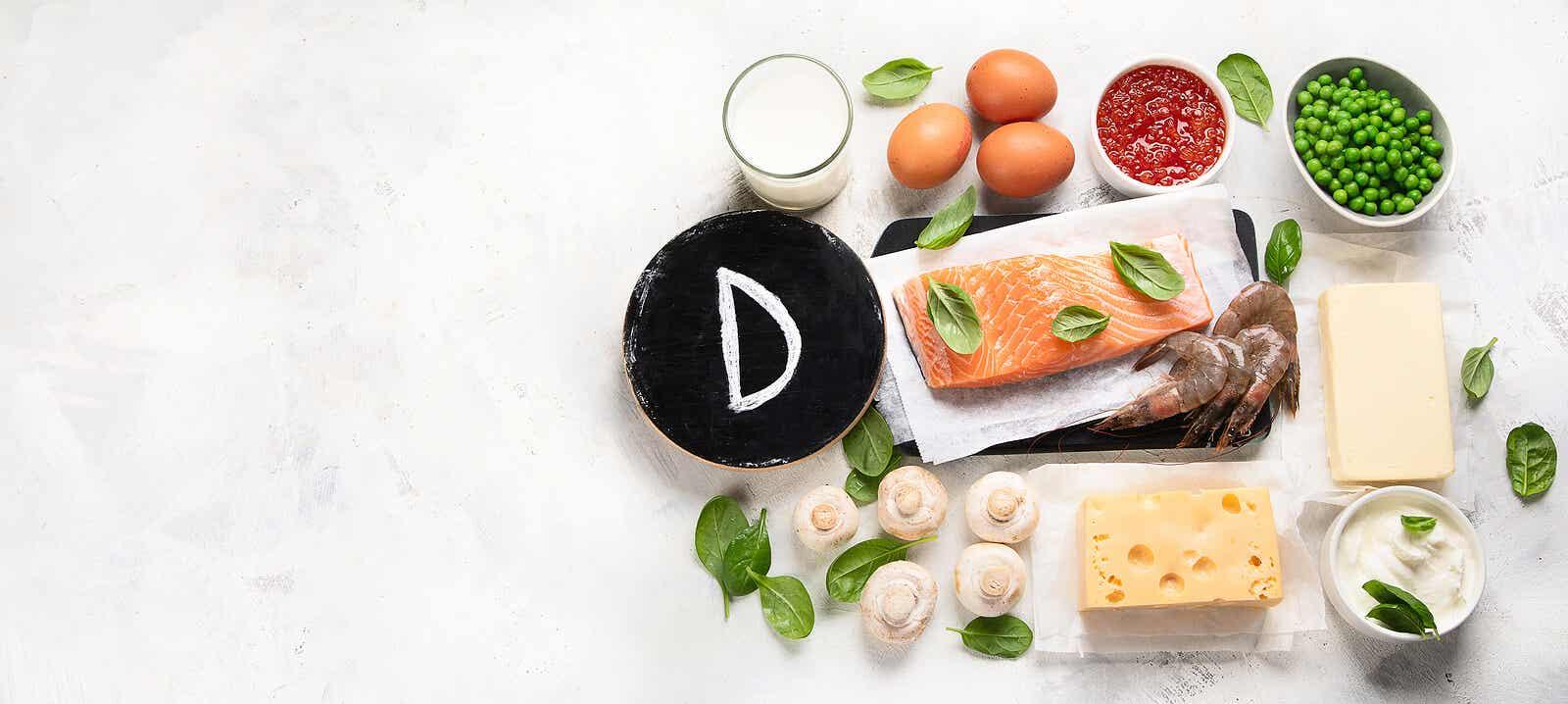 Plantaardige en dierlijke bronnen van vitamine D.