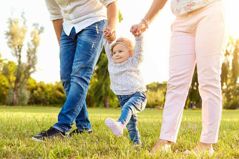 Et lille barn, der lærer at gå, holder sin mor og far i hænderne