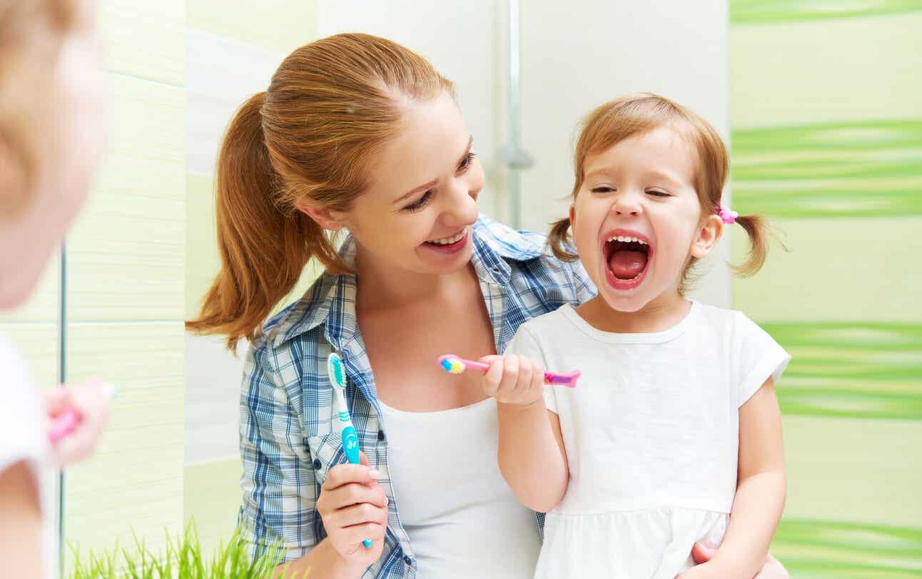 Family brushing their teeth.