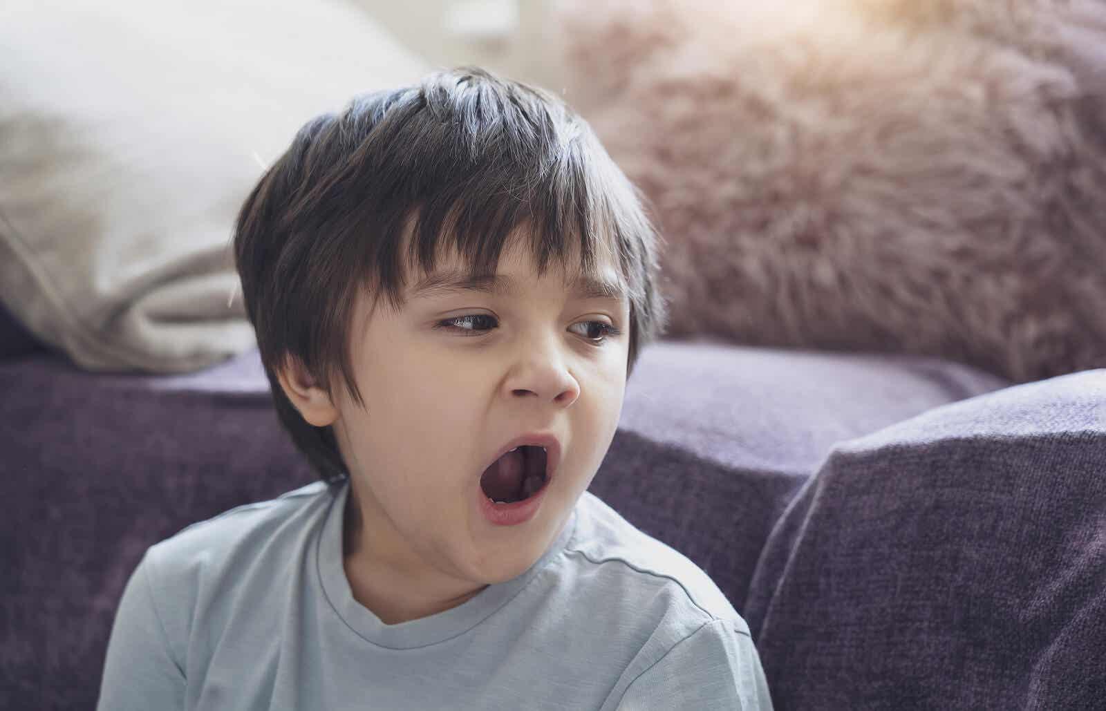 A child yawning.