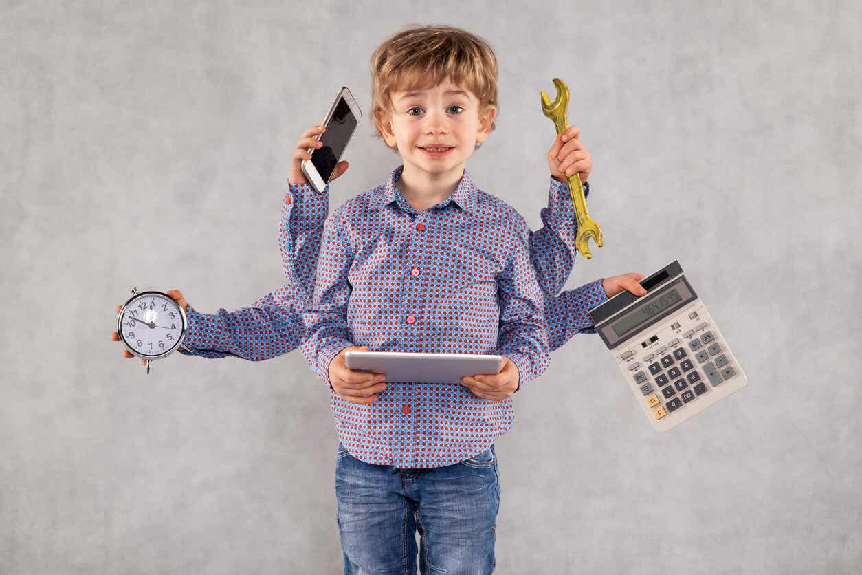 A child with many hands holding many different objects, including a clock, a phone, a tablet, a calculator, and a wrench.