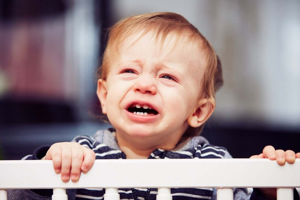 A baby crying in his crib.