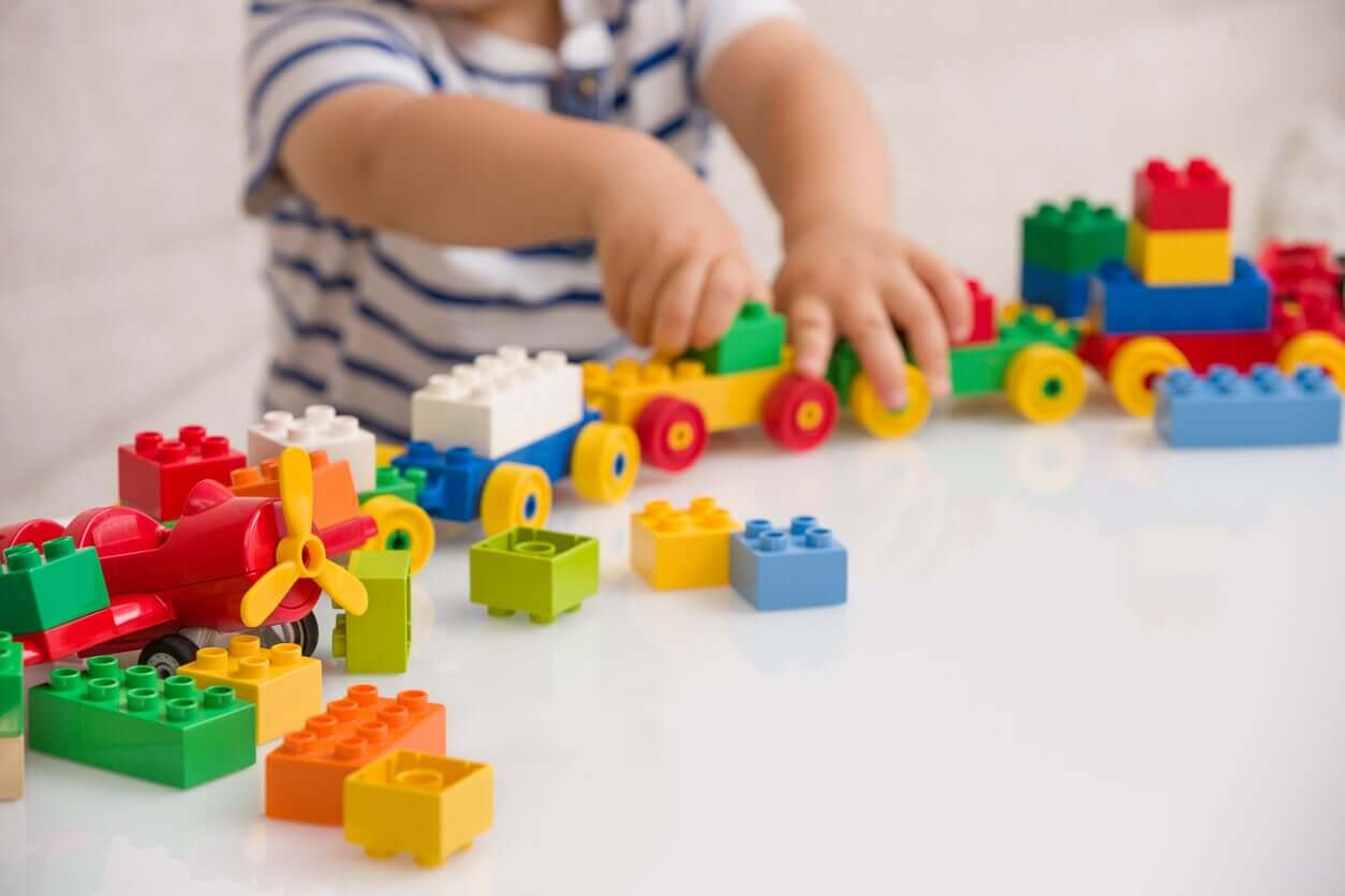 A child playing with blocks.
