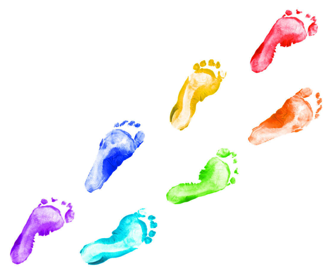 Baby foot prints made with finger paint.