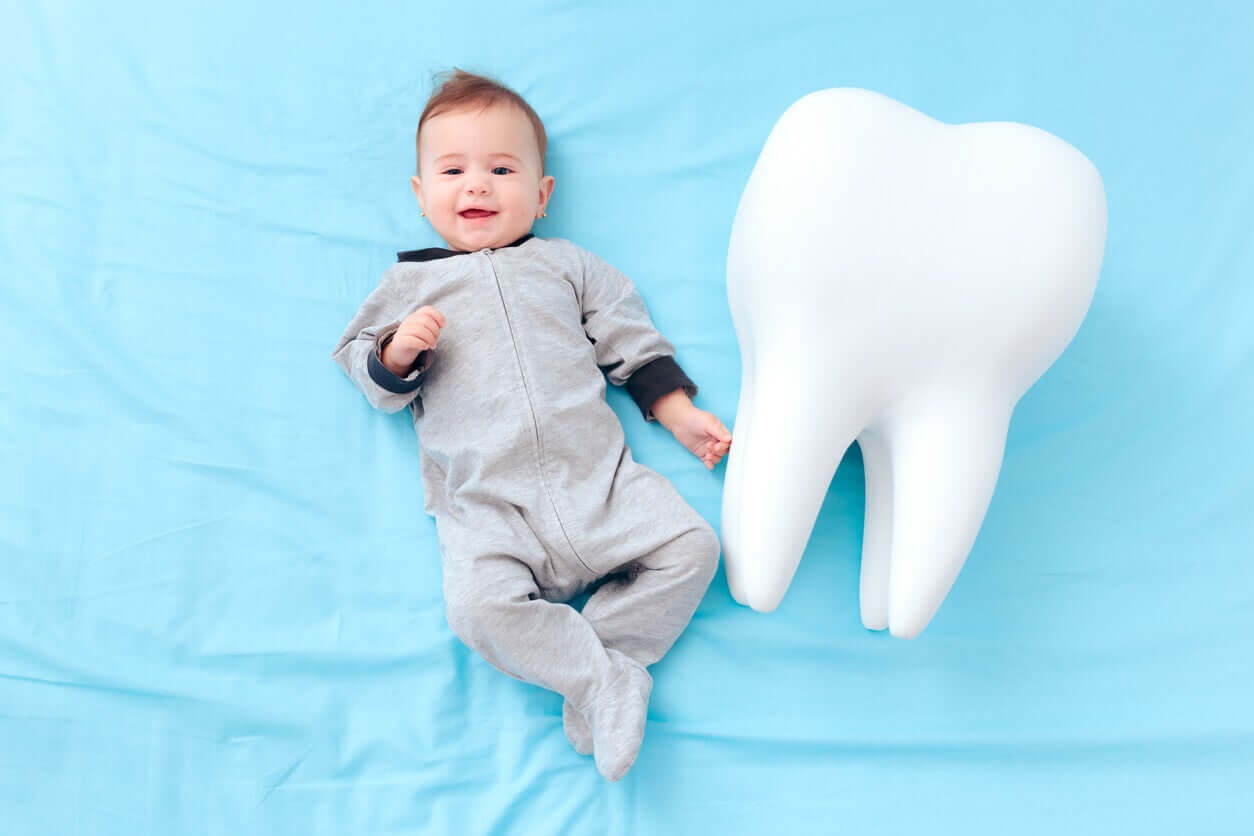 A baby lying on the floor smiling next to a large model of a tooth.